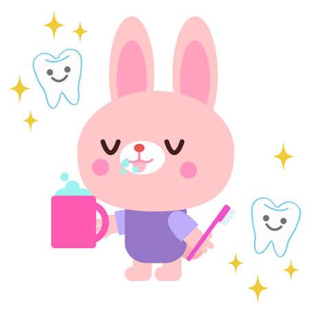 Rabbit illustration brushing teeth  イラスト・ベクター素材