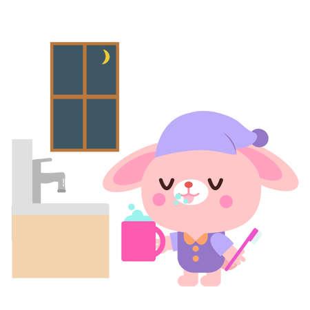 Rabbit illustration brushing at night
