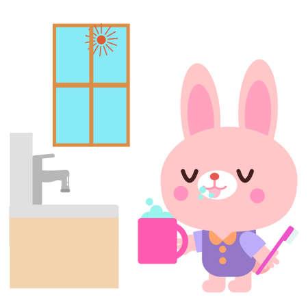 Rabbit illustration brushing in the morning