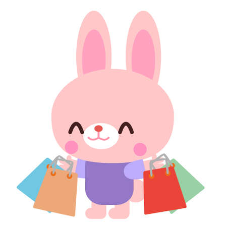 Rabbit illustration material of rabbit   shopping a lot