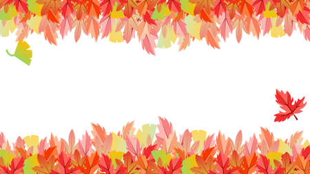 Autumn leaves and ginkgo leaf frame  イラスト・ベクター素材