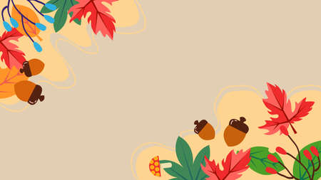 Autumn image illustration of autumn leaves and acorns