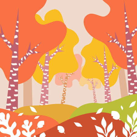 Red autumn landscape illustration