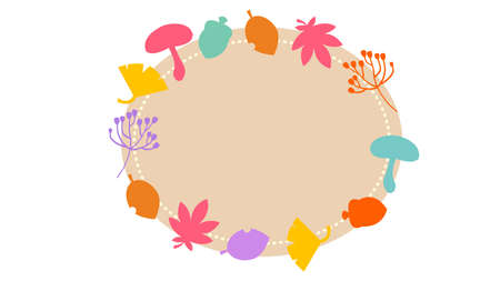 Autumn Material Round Frame Illustration  イラスト・ベクター素材