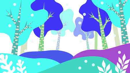Winter Forest Illustration Landscape Material  イラスト・ベクター素材