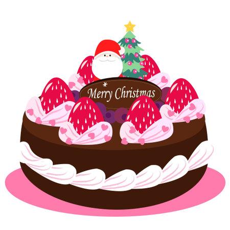 Christmas Chocolate Cake Illustration