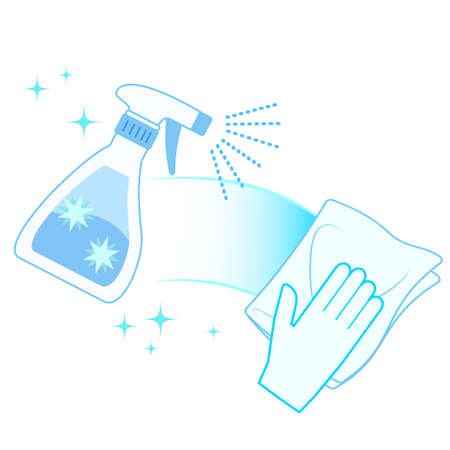 Hand illustration to disinfect and wipe off  イラスト・ベクター素材