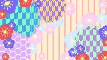 Japanese colorful flower pattern  イラスト・ベクター素材