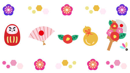 Japanese style icon illustration set  イラスト・ベクター素材
