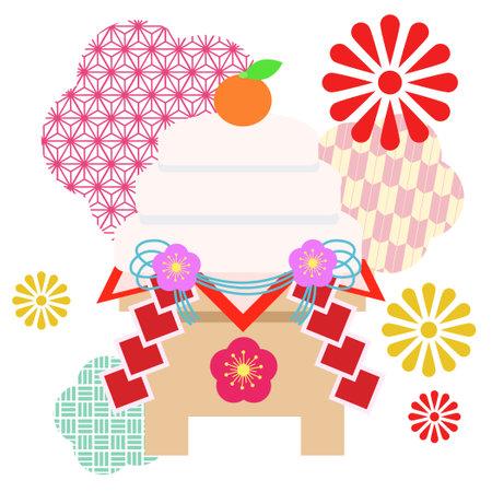 Gorgeous Japanese pattern and kagami mochi illustration  イラスト・ベクター素材