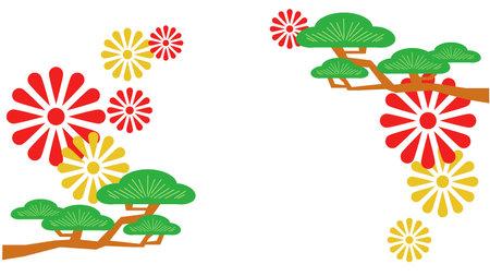 Flower and pine tree illustration