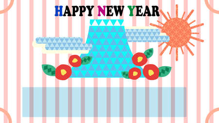 Pop design New Year's card material of mountain and Japanese pattern  イラスト・ベクター素材