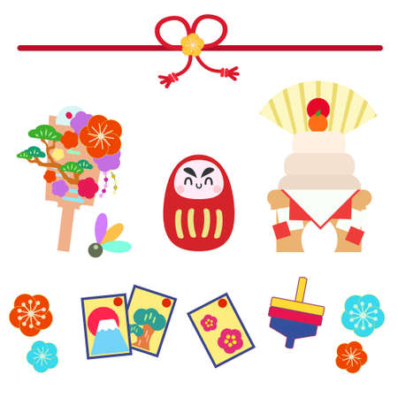 Japanese decoration and retro play illustration set  イラスト・ベクター素材