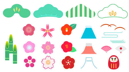 Japanese and plant illustration icon material set