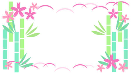 Cherry blossoms and bamboo illustration frame material  イラスト・ベクター素材