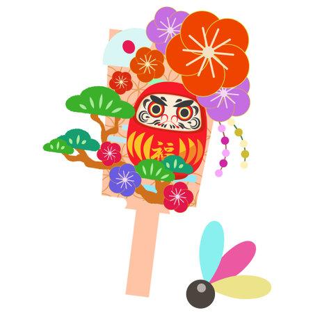 Gorgeous hagoita illustration of flowers and polish