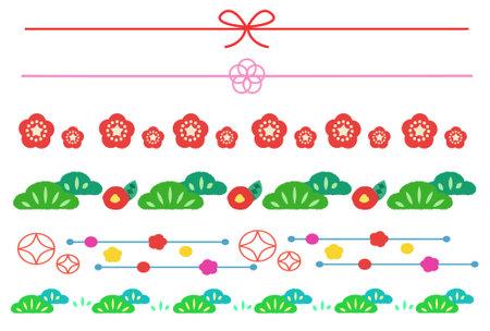 Flower and Japanese style icon illustration set  イラスト・ベクター素材