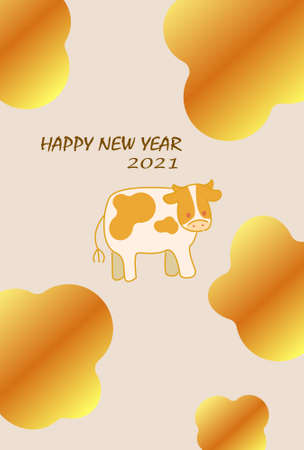 Golden decorative pattern and ushi illustration New Year's card material  イラスト・ベクター素材