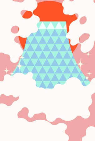 New Year's card material of Mt. Fuji design illustration  イラスト・ベクター素材