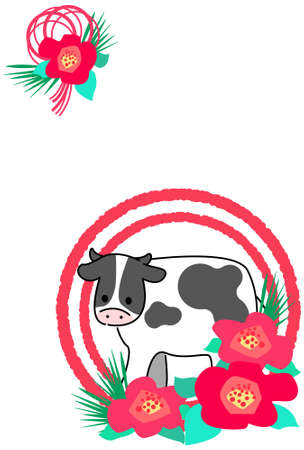 Japanese pattern New Year's card material illustration of cow and flower