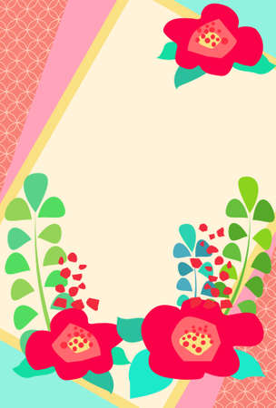 Hand drawn retro flower frame material