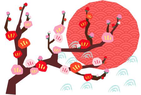 Hand drawn retro plum blossom illustration