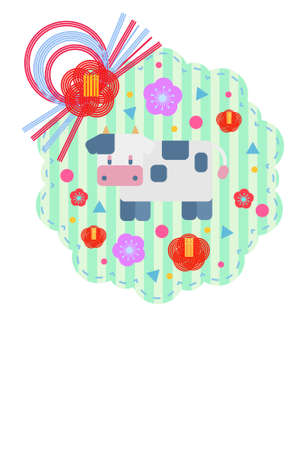 Pop design New Year's card material of cow and mizutaki