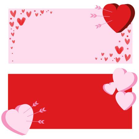 Heart mark frame illustration set
