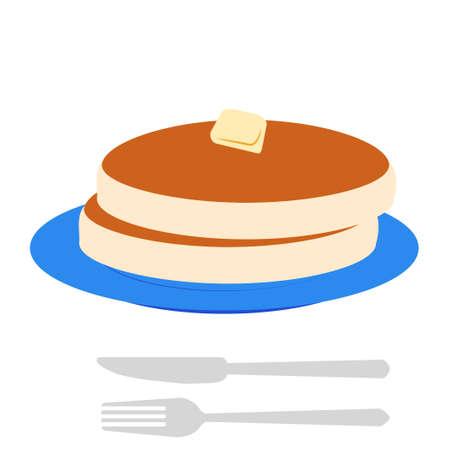 Butter Pancake Illustration  イラスト・ベクター素材