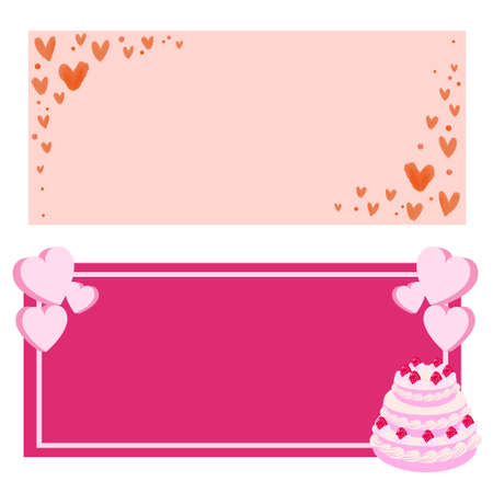 Heart and cake banner illustration  イラスト・ベクター素材