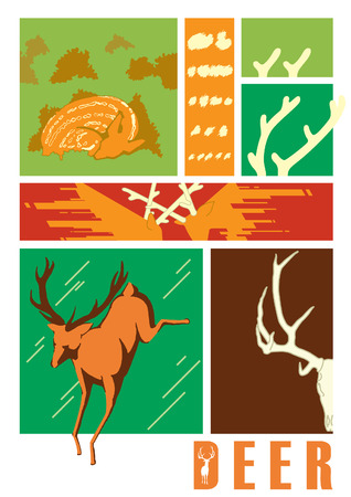 circle of life: circle life of deer Illustration