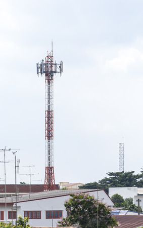 mobile communication: Mobile phone communication tower in town
