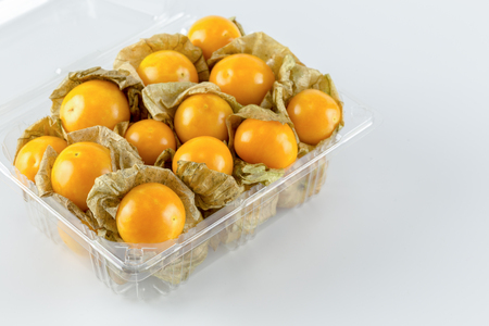 Cape gooseberry in plastic packaging Imagens