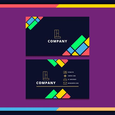 abstract and colourful business card design. modern and professional business card design