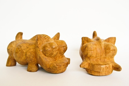 Woodcarving  pig Stock Photo
