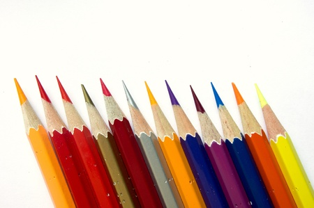Color pencils on white background Stock Photo