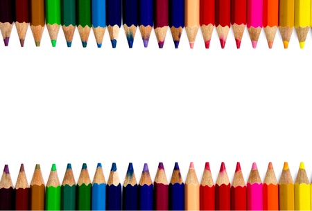 art palette: Color pencils on white background Stock Photo