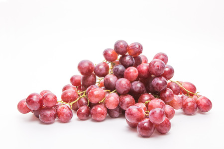 Bunch of red grapes ,  on white background.