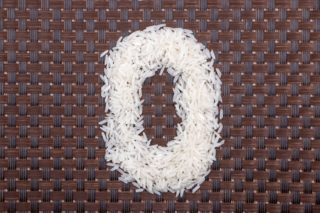 0 number from raw rice Stock Photo