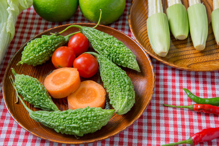 organic vegetables on  wooden table