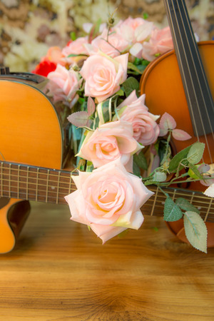 Violin,guitar,flute  and rose with vintage style
