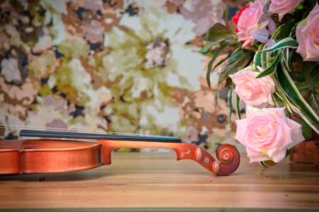 Violin and rose with vintage style Stock Photo