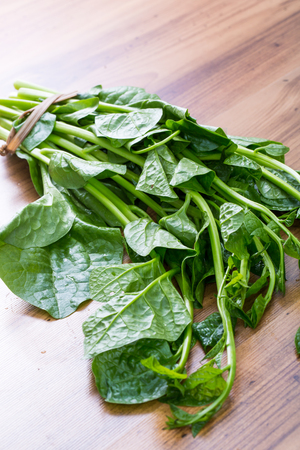 wood agricultural: Malabar spinach on cutting bard