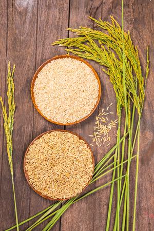 rice: arroz con cáscara y marrón en el plato y arroz planta de madera