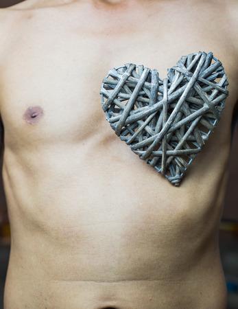 nipple man: bamboo weave  heart shape on chest