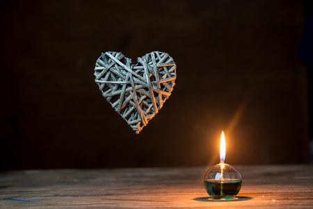 flower shape: Romantic lantern on lights background, love concept