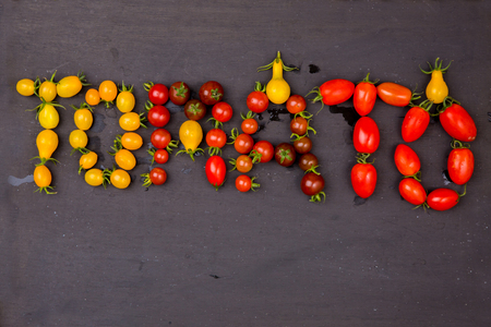 lycopene: red and yellow tomatoes Stock Photo