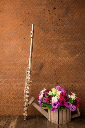 silver flute: Silver flute and flower on old steel background