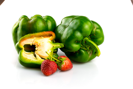 Fruits and vegetables,sweet pepper,strawberry  still life for healthy food Stock Photo