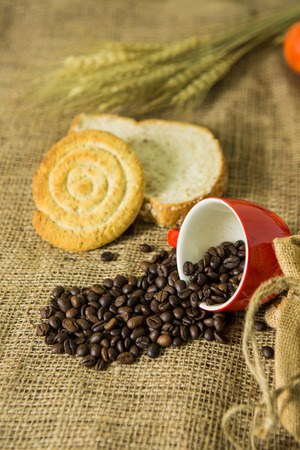 Coffee and bread on cloth background Stock Photo